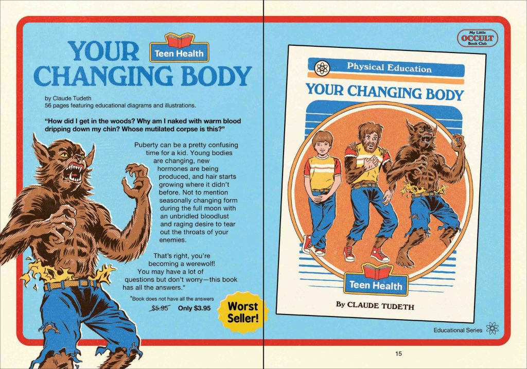 Double spread of Teen Health: Your Changing Body, Werewolf - parody example from Steven Rhodes' My Little Occult Book Club