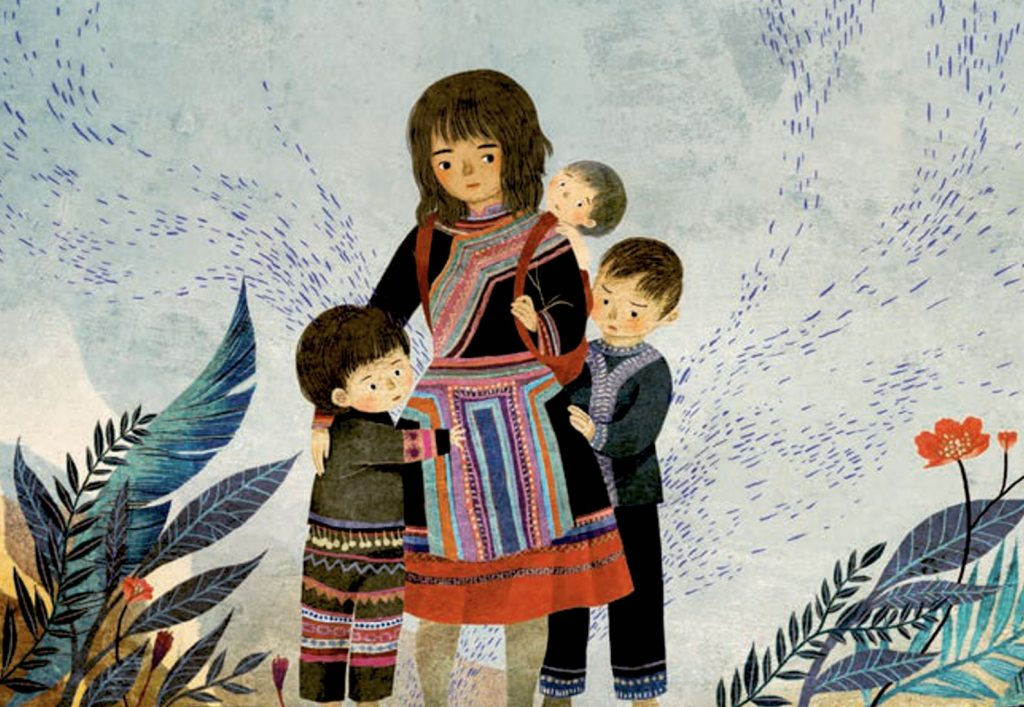 Image of Grandma and her siblings as children, as illustrated by Khoa Le, in The Most Beautiful Thing.