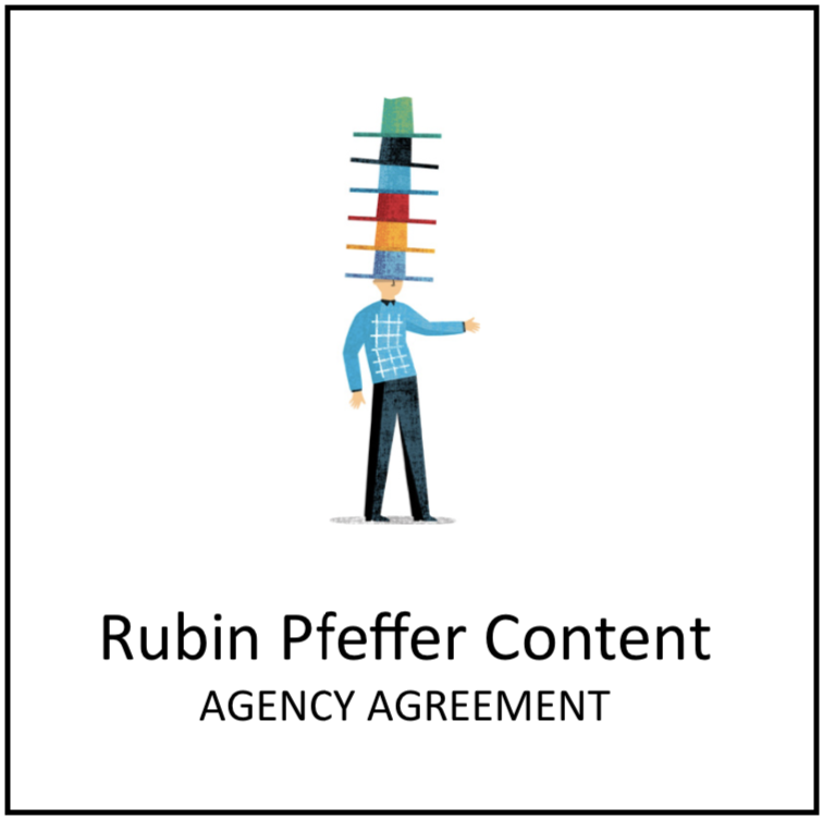 Logo for Rubin Pfeffer Content, a literary agency specializing in children's books. It features a man wearing many hats, balancing them all on his head.